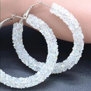 🔥 2/$20 ✨ White Rhinestone Hoops